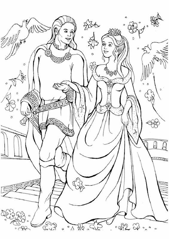 Coloriage de Princesse et prince, dessin Ce chevalier a conquis sa belle à colorier