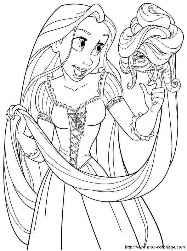 Coloriage de princesse et prince dessin raiponce et son - Raiponce et son prince ...