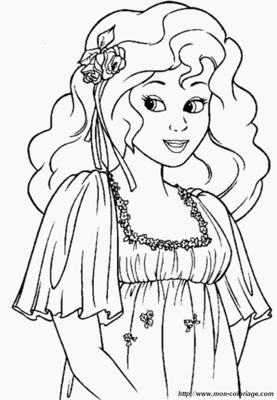 coloriage de princesse et prince, dessin une jolie fleur dans les