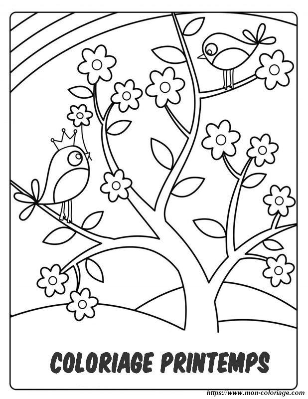 Coloriage De Printemps Dessin Deux Oiseaux Sur Un Arbre A Colorier
