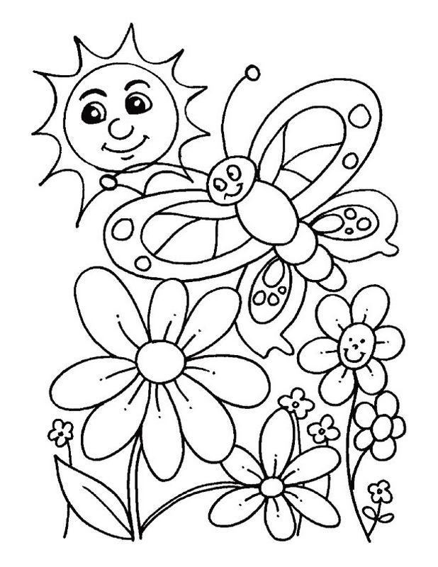 Coloriage De Printemps.Coloriage De Printemps Dessin Papillon Fleurs Et Soleil A Colorier