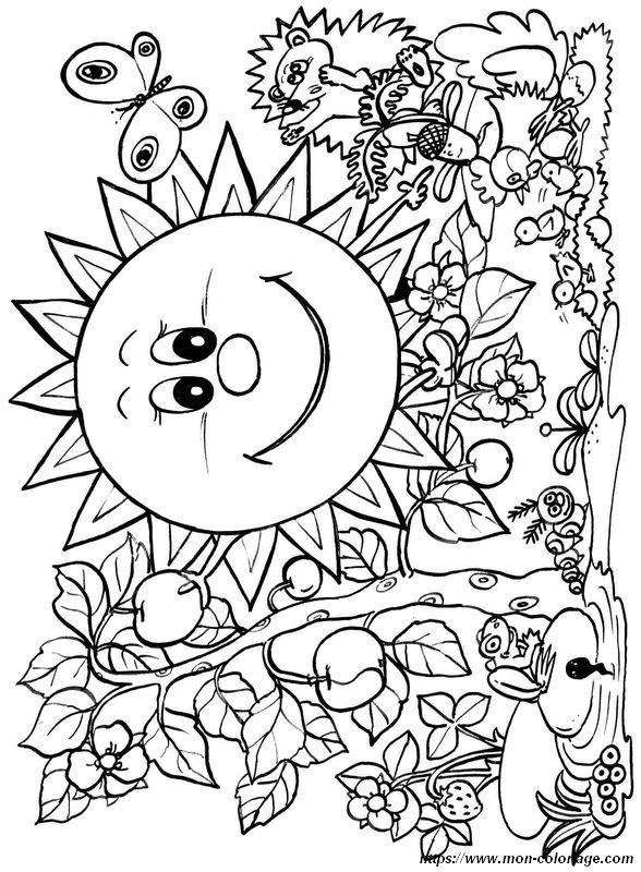 Coloriage de Printemps, dessin Soleil de printemps pour la ...