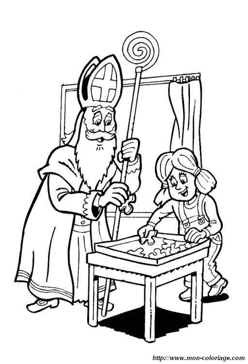 Coloriage de saint nicolas dessin coloriage saint nicolas 05 colorier - Dessin de saint ...