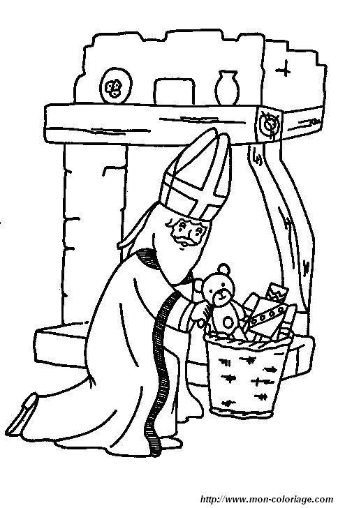 Coloriage de saint nicolas dessin coloriage saint nicolas 06 colorier - Dessin de saint ...