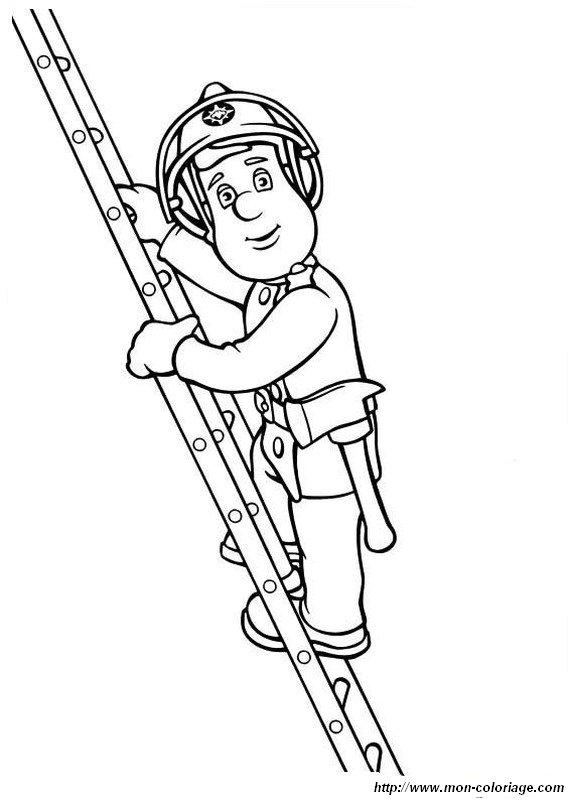 Coloriage de Sam le pompier, dessin Il monte sur la grande echelle à colorier