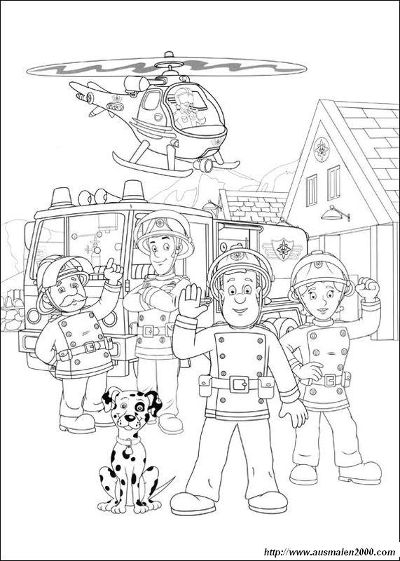 Coloriage De Sam Le Pompier Dessin Tous Les Pompiers Dans Leur