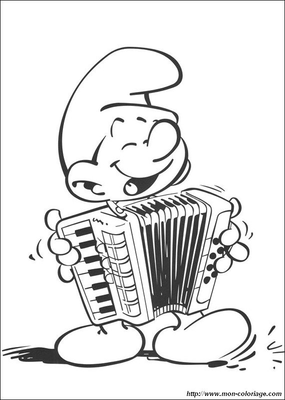 Dessin Accordéon coloriage de schtroumpfs, dessin accordeon qui fait de la musique à