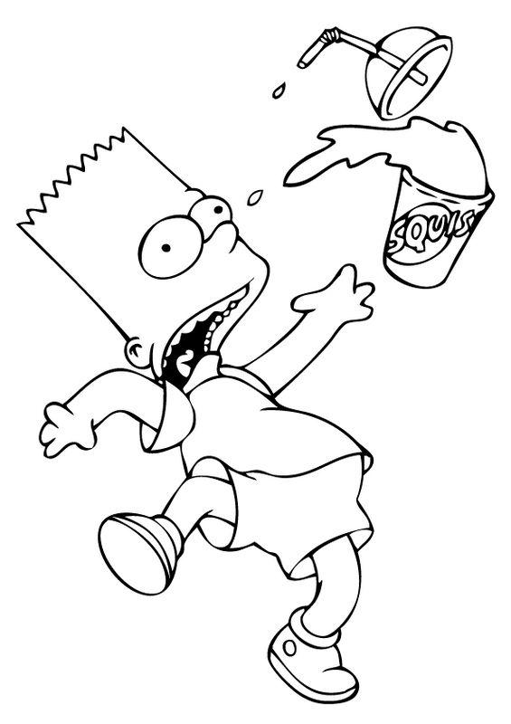Coloriage De Simpsons Dessin Bart Renverse Son Jus De Fruit