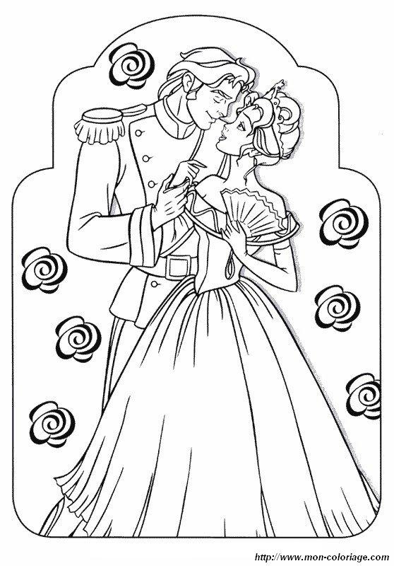 coloriage de sissi dessin la princesse et son prince à