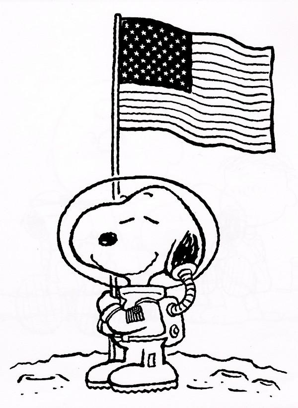 Coloriage de snoopy dessin le cosmonaute snoopy sur la lune colorier - Snoopy dessin ...