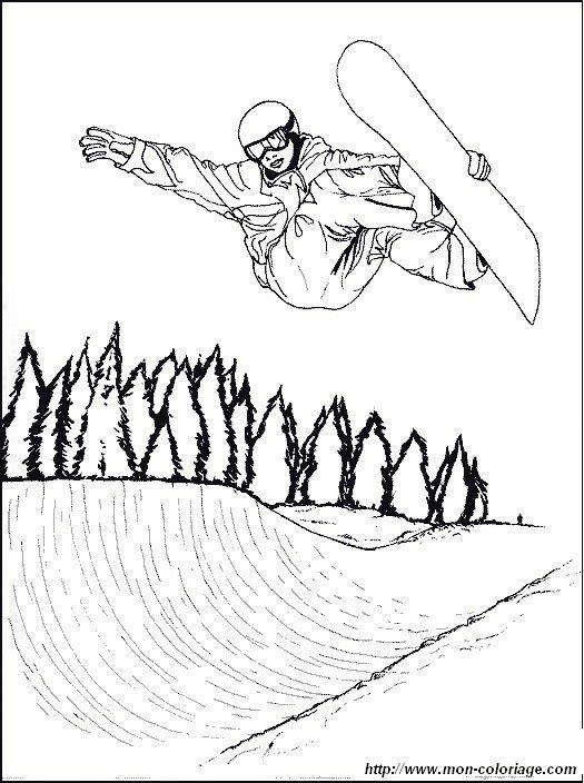 coloriage de sport dessin snowboard saut à colorier
