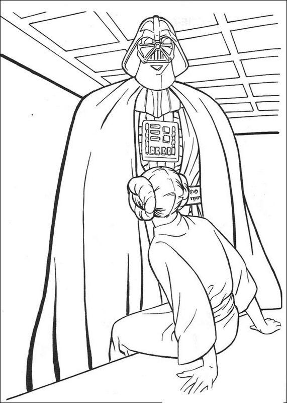 Coloriage De Star Wars Dessin Dark Vador Et La Princesse
