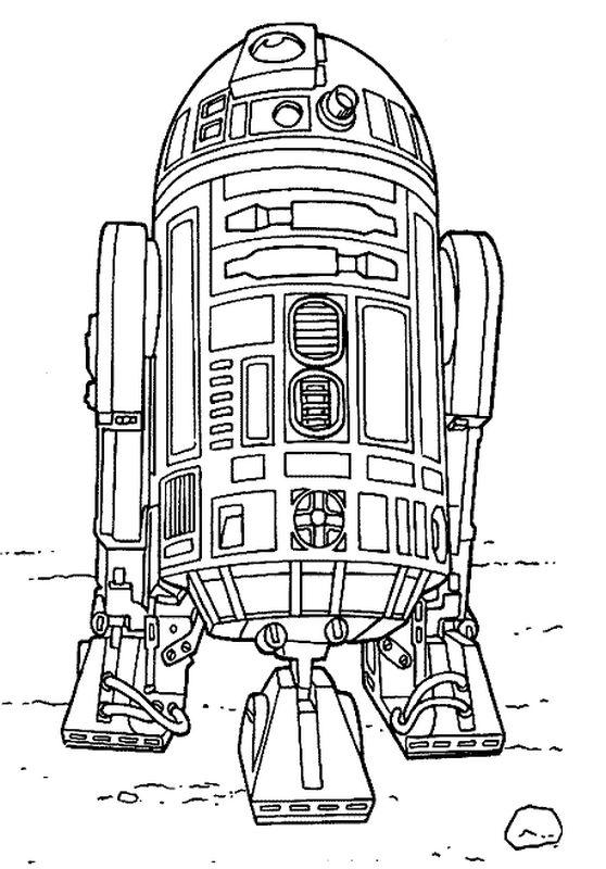 Coloriage De Star Wars Dessin R2 D2 Le Droide Sympathique Et Amusant A Colorier