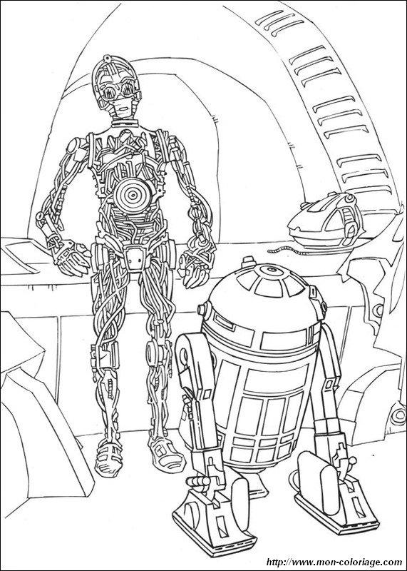 Coloriage de star wars dessin c3po et d2r2 ensemble - Dessin de star wars 3 ...