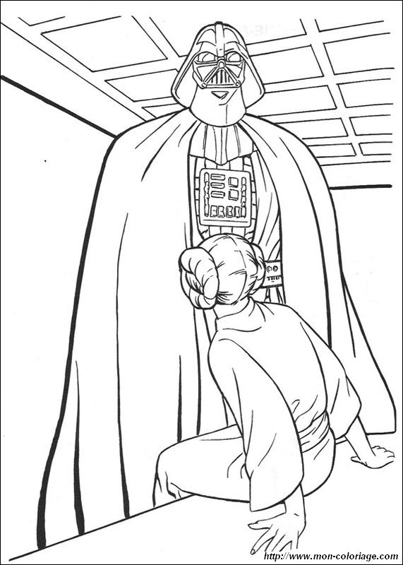 Coloriage De Star Wars Dessin Darth Vador Interroge La