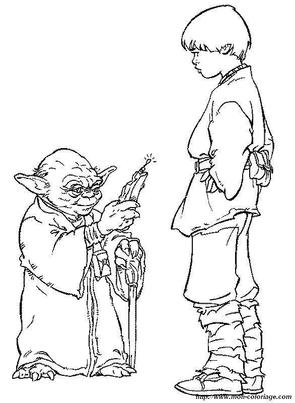Coloriage De Star Wars Dessin Maitre Yoda Avec Anakin Skywalker A