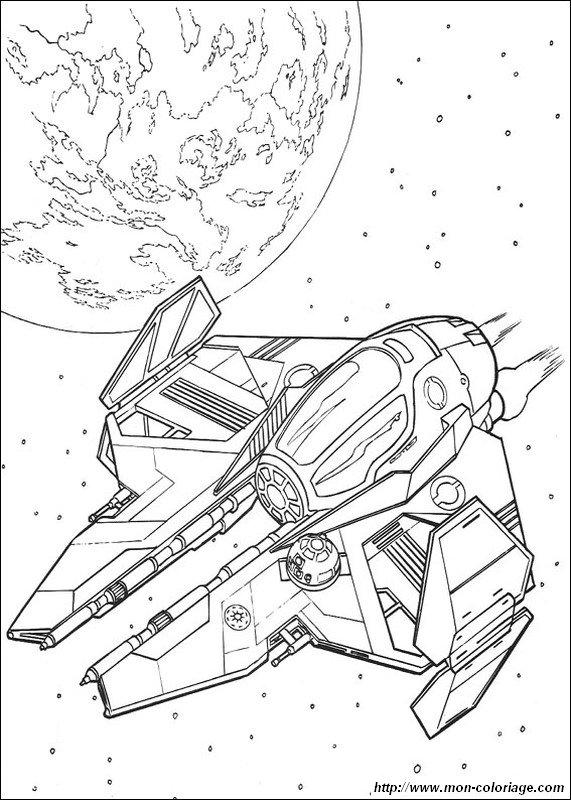 coloriage de star wars  dessin un vaisseau spatial  u00e0 colorier