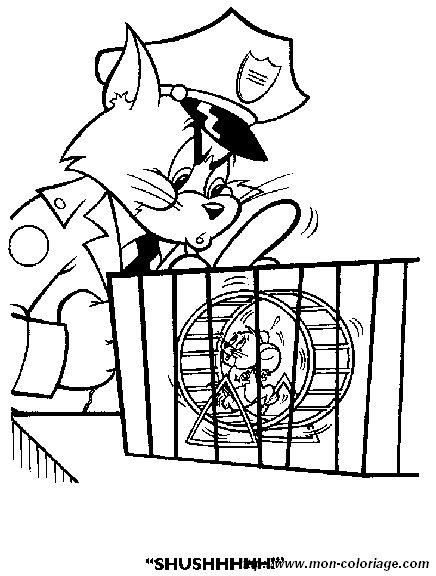 Coloriage de Tom et Jerry, dessin tom et jerry à colorier