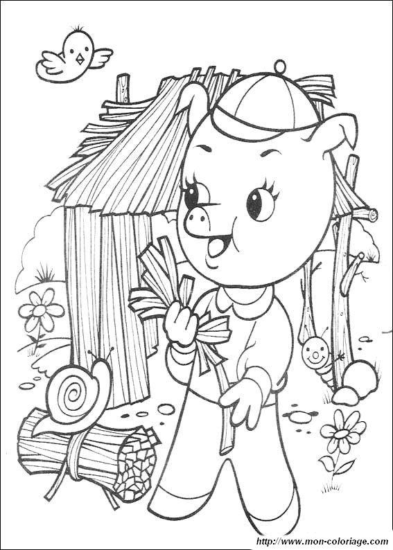 Coloriage de les 3 petits cochons dessin les trois petits - Dessin des 3 petit cochon ...
