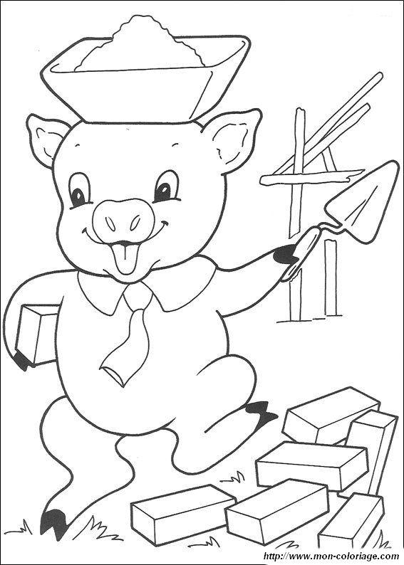 Coloriage de les 3 petits cochons dessin les trois petits - Coloriage les trois petit cochons ...