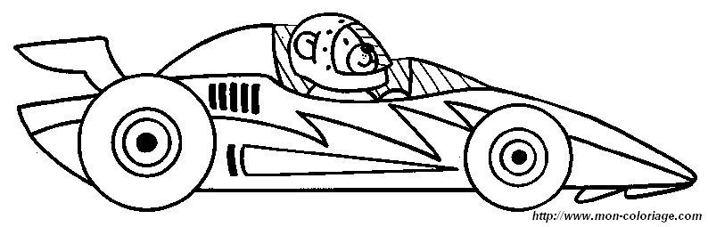 Coloriage de Voitures, dessin voiture course à colorier
