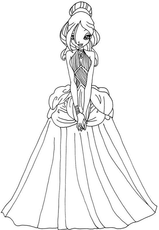 Coloriage de winx club dessin bloom dans sa robe de bal - Coloriage winks ...