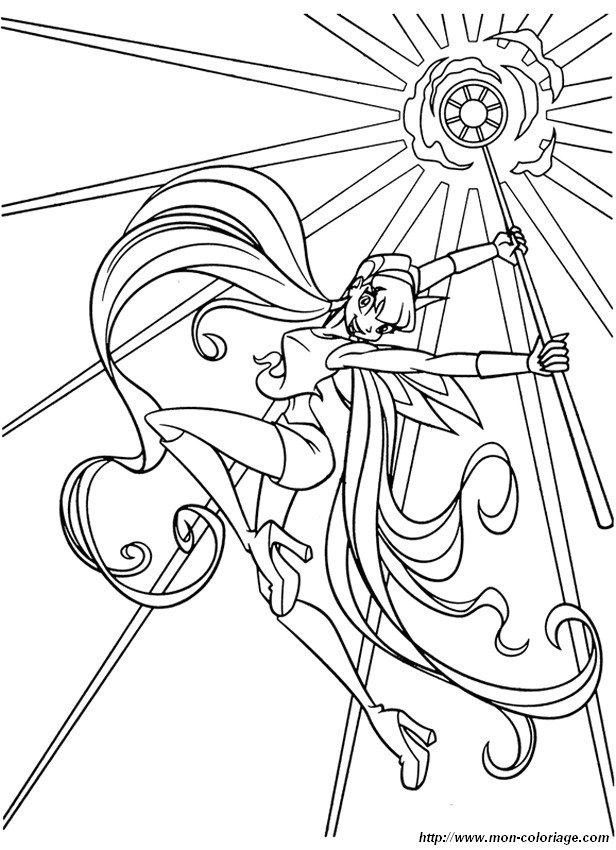 Coloriage de Winx Club, dessin stella et ses pouvoirs à colorier