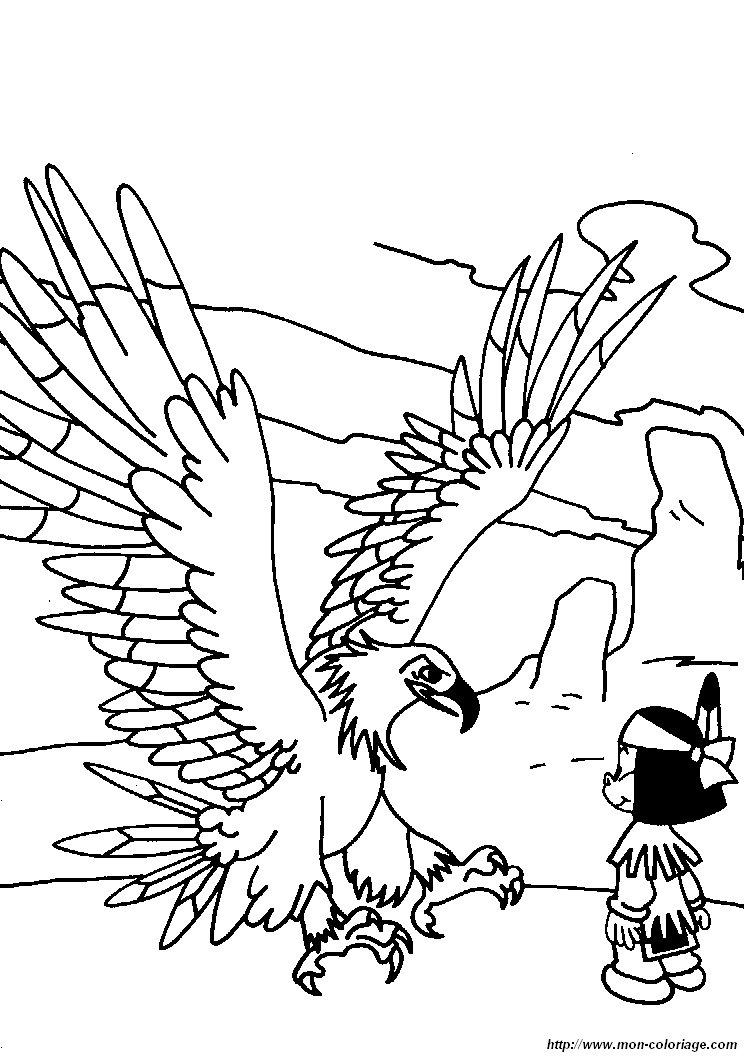 Coloriage de yakari dessin coloriage yakari aigle 2 colorier - Coloriage aigle ...