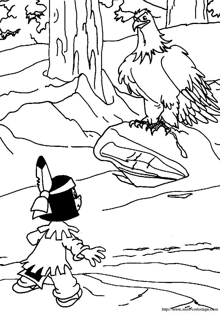 Coloriage de yakari dessin coloriage yakari aigle colorier - Coloriage aigle ...