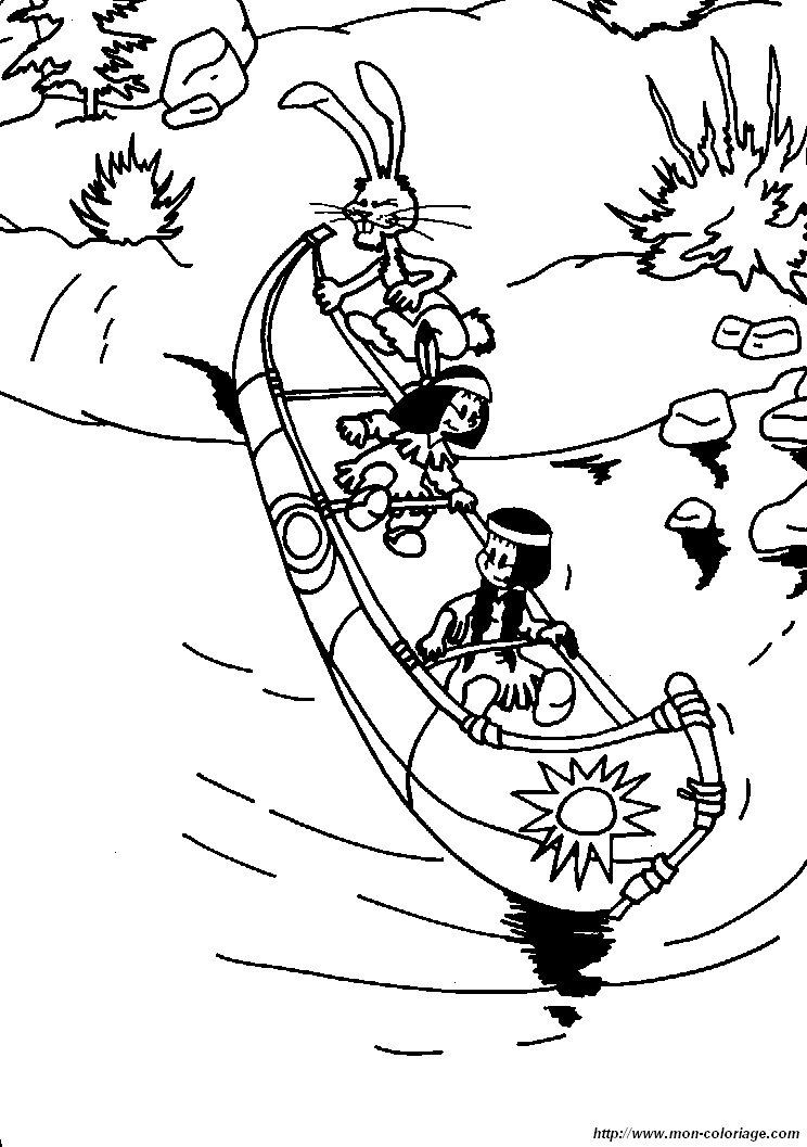 coloriage de yakari dessin coloriage yakari canoe à colorier